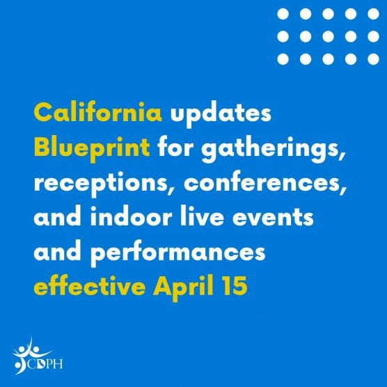 blueprint for safer economy update gatheriengs, receptions, conferences, indoor live events