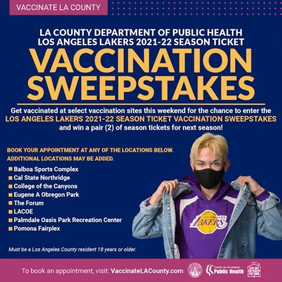 Lakers/LA County Vaccination Sweepstakes